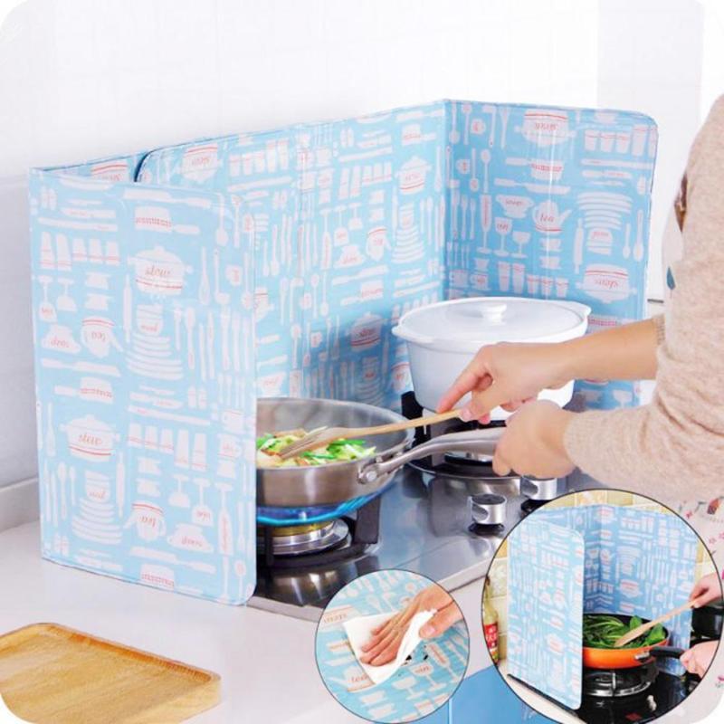 Cocina aislamiento térmico Placa de hoja de aluminio Gas Anti aceite deflector pantallas cocina herramientas cocina aislar a prueba de salpicaduras 84*39cm