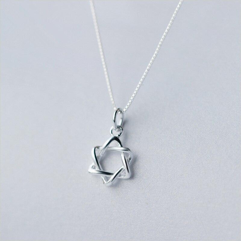 Collar de plata de ley 925 COLLAR COLGANTE de hexagrama de moda 2019 para mujer collar de cadena de joyería de moda 2019