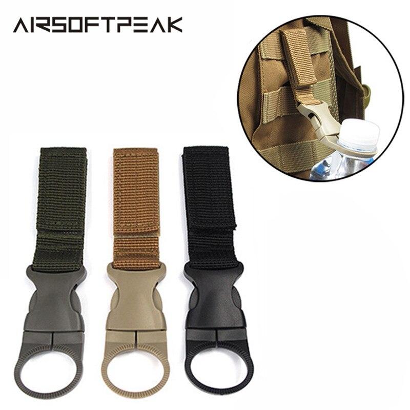 Accesorios de caza tácticos correas de Nylon botella de agua mosquetón cinturón militar chaleco mochila acoplable bucle y gancho de suspensión