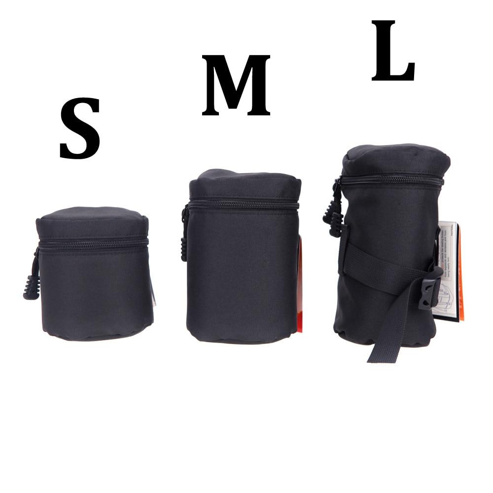Andoer impermeable acolchado bolsa de lente de cámara caso de la bolsa del Protector para Nikon Canon Sony bolsa de lente de cámara estuche negro tamaño S M L