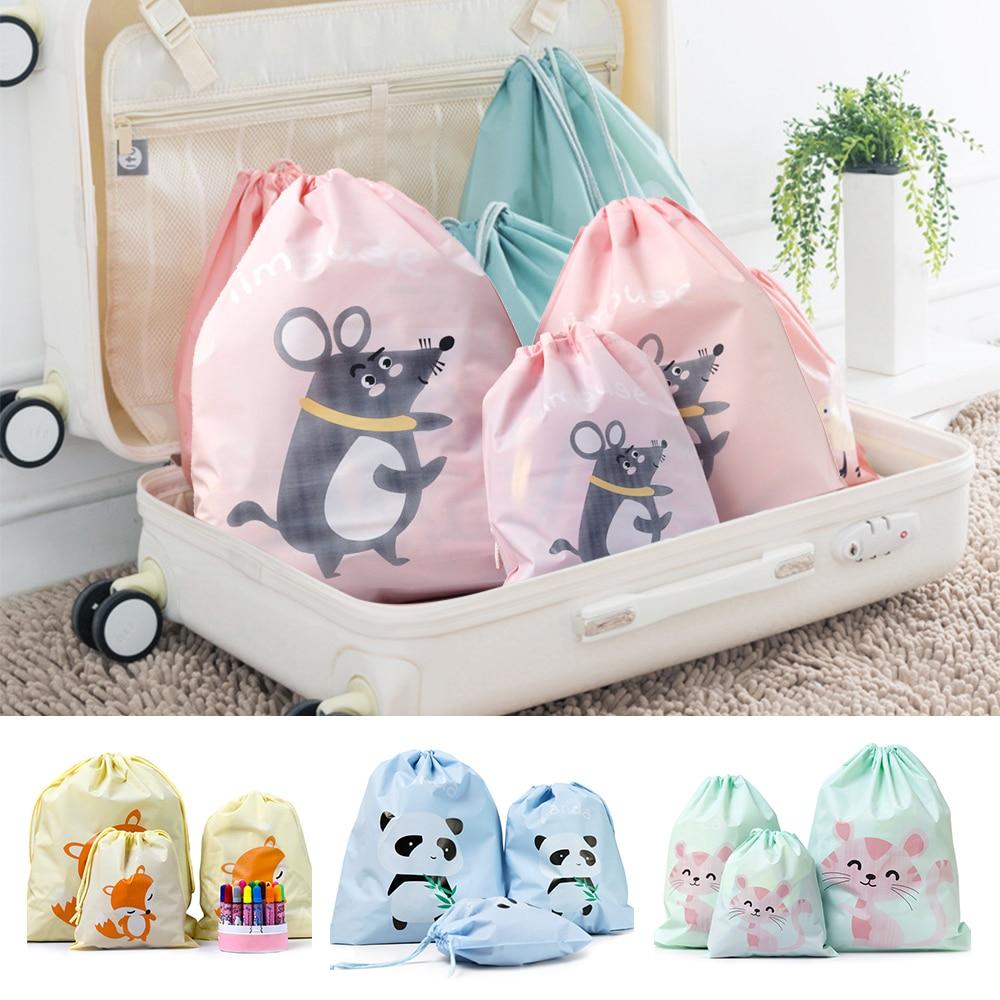 3 unids/set bolsa de almacenamiento de viaje sello de haz boca de dibujos animados Peva bolsa de clasificación de ropa impermeable tres tamaños para elegir