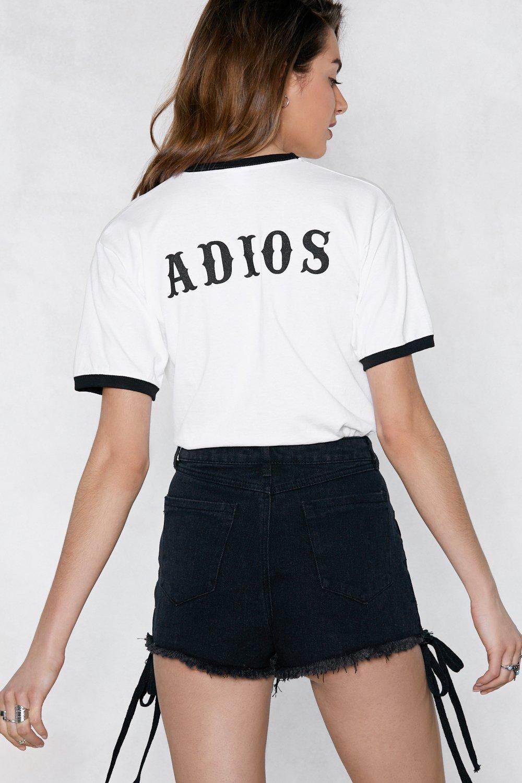 Casual mujer moda divertido eslogan Grunge Tumblr Vintage remeras camisa gótica ADIOS camiseta español adiós negro Ringer camisetas