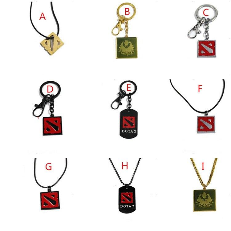 300 unids/lote DOTA 2 llaveros de logotipo y collar dota 2 héroes cosplay colgantes temáticos gratis por DHL/Fedex