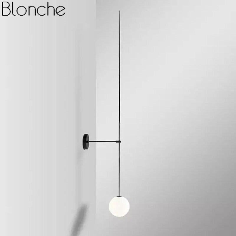 Современная настенная лампа, минимализм, скандинавский стеклянный шар, Led Бра, Светильники для ванной комнаты, прикроватные зеркальные свет...