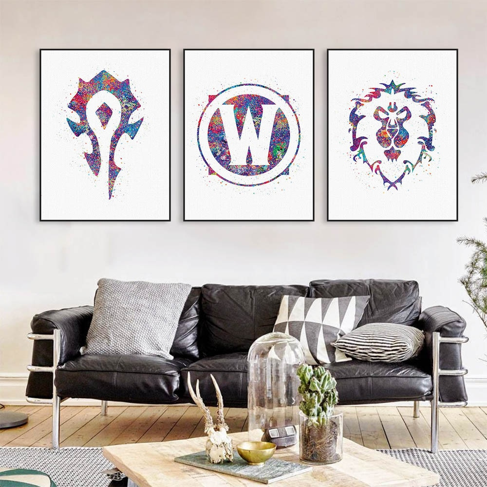 Original acuarela WOW alianza horda Logo juego película A4 arte impresión cartel pared cuadro lienzo pintura sin marco chico habitación decoración