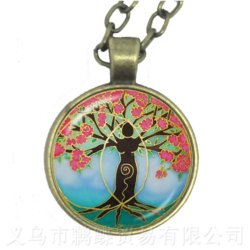 Tree of Life Necklace 25mm Glass Cabochon Jewelry Sweater chain Accessories For Men Women Gift
