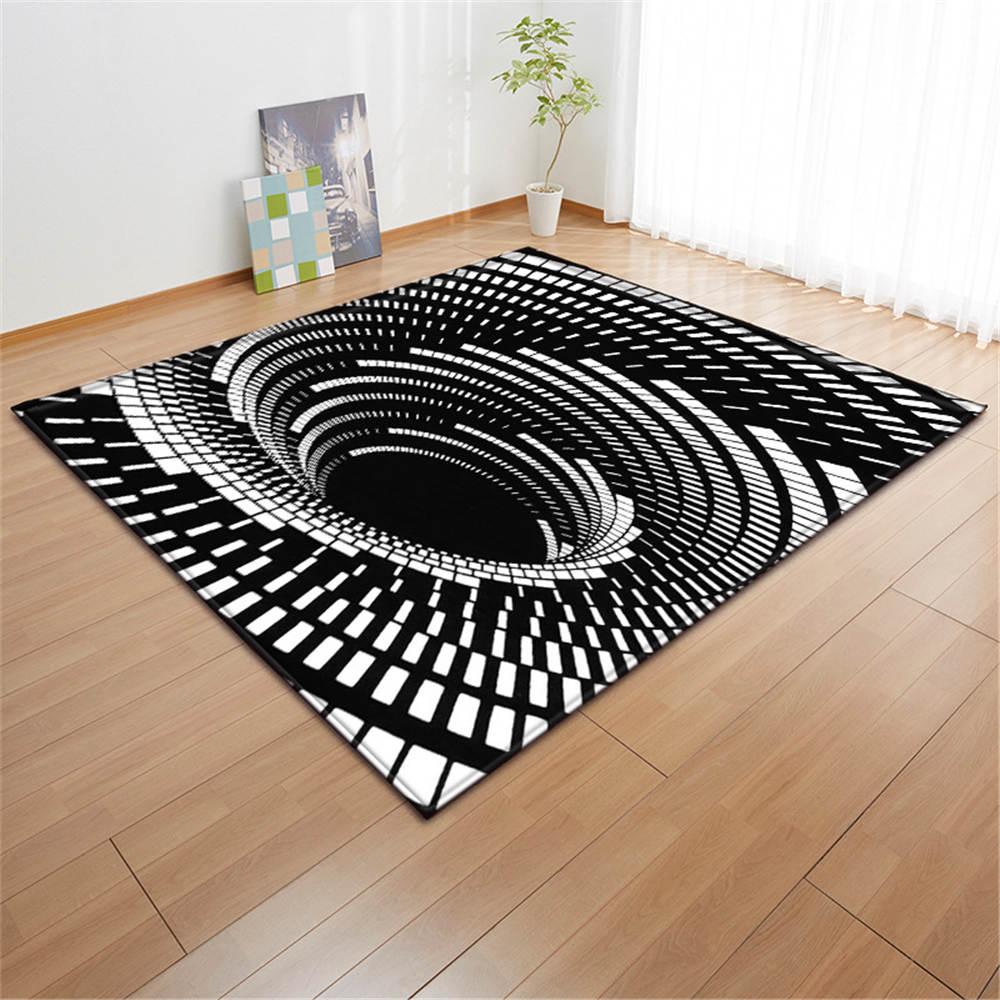 Geometric Living Room Area Rug Swirl White Black Floor Carpet Soft Flannel Boys Room Play Mats Bedside Rugs Big 3D Carpets