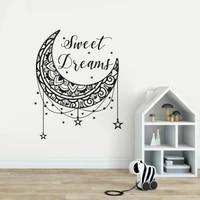 Autocollants muraux etoiles et lune doux reves  etiquette decorative pour chambre denfants  citation  papier peint de decoration pour pepiniere AY1705
