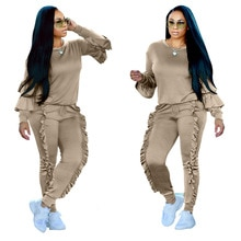 Autumn Fall Two Piece Ruffles Hoodies Pants Set Women Long Petal Sleeves Winter Top With Long Trousers Street Fashion Tracksuits