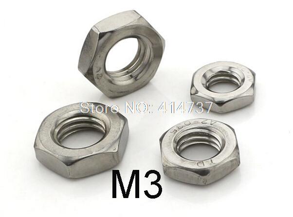 M3 tuerca hexagonal delgada 100 unids/lote DIN439 de acero inoxidable 304