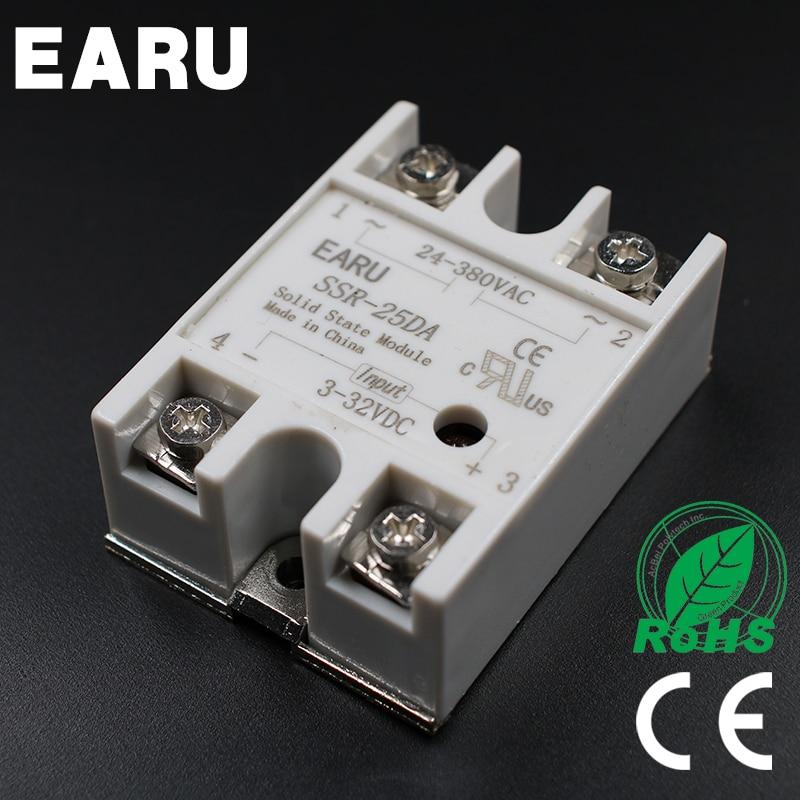 1PC SSR-25 DA SSR-25DA 25A SSR Relay input 3-32VDC output 24-380VAC for PID Temperature Controller Moudle Voltage Transformer