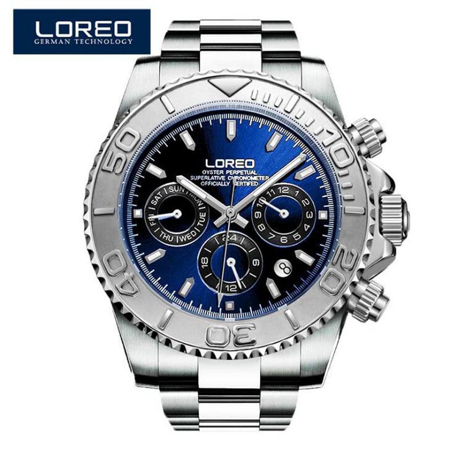 2017 new loreo chronograph waterproof auto date wrist watch top luxury brand stainless steel luminous diver male automatic clock LOREO Men Watches Auto Date Sapphire Watch Sports Stainless Steel Strongest Luminous Waterproof 200m Diver Mechanical Wristwatch