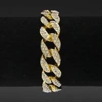 mens luxury rhinestone fashion bracelets bangles high quality iced out miami cuban bracelet hip hop