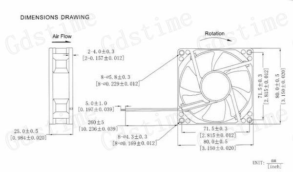 2Pcs Gdstime Power Supply USB 80mm x 25mm 5V 8025 8cm S DC Fan 80x80x25mm PC Case Heatsink Cooling Fan
