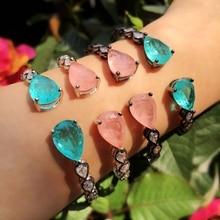 Big Water Drop Fusion stone women bracelet AAA Cubic Zirconia Charm Nail Cuff Bangles Adjustable Bracelet Female fashion Jewelry