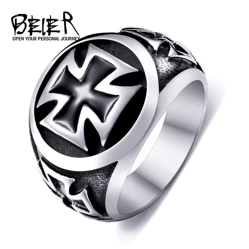 Beier nueva tienda 316L acero inoxidable de alta calidad anillo Cruz de Hierro fresco de Moda hombre pintura negra al óleo joyería LLBR8-073R