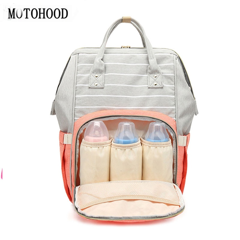 Mochila para bebé con diseño de rayas de MOTOHOOD, mochila organizadora de gran capacidad, bolsa cambiante para mamá, mochila 27*42*15cm