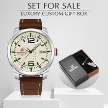 NAVIFORCE Top Luxury Brand Men Watch Quartz Sports Men's Clock Man Leather Wrist Watch With Box Set For Sale Relogio Masculino