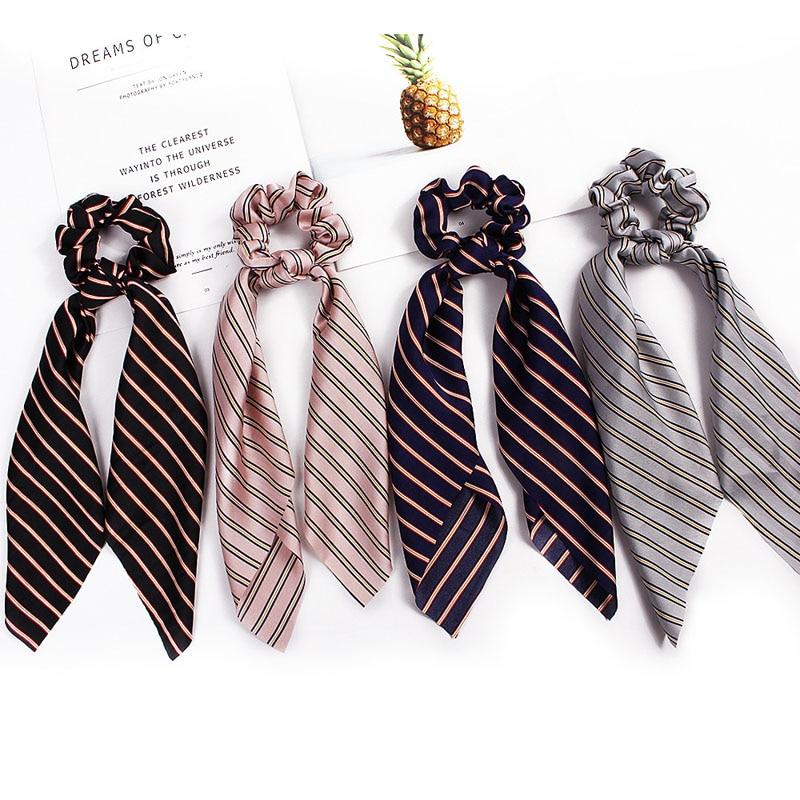 summer Satin Stripe Pattern Hair Scrunchies long bow Ponytail  Hair Holder Stretchy Elastic Hair band for women Hair Accessories
