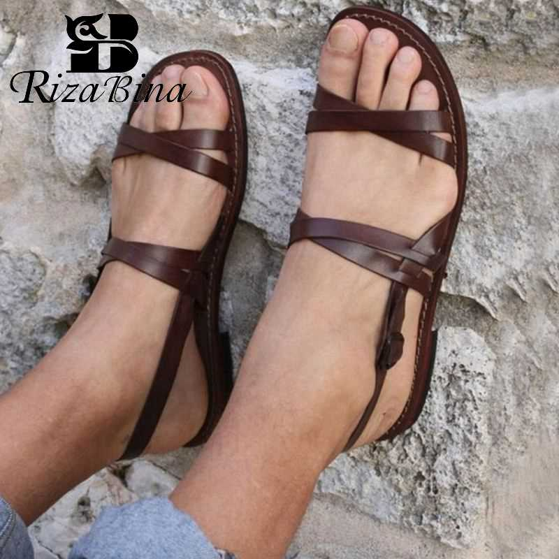 RIZABINA, Dropshipp, Sandalias planas informales para mujer, zapatos de playa de verano 2019, calzado plano negro marrón de moda para mujer, talla 35-43