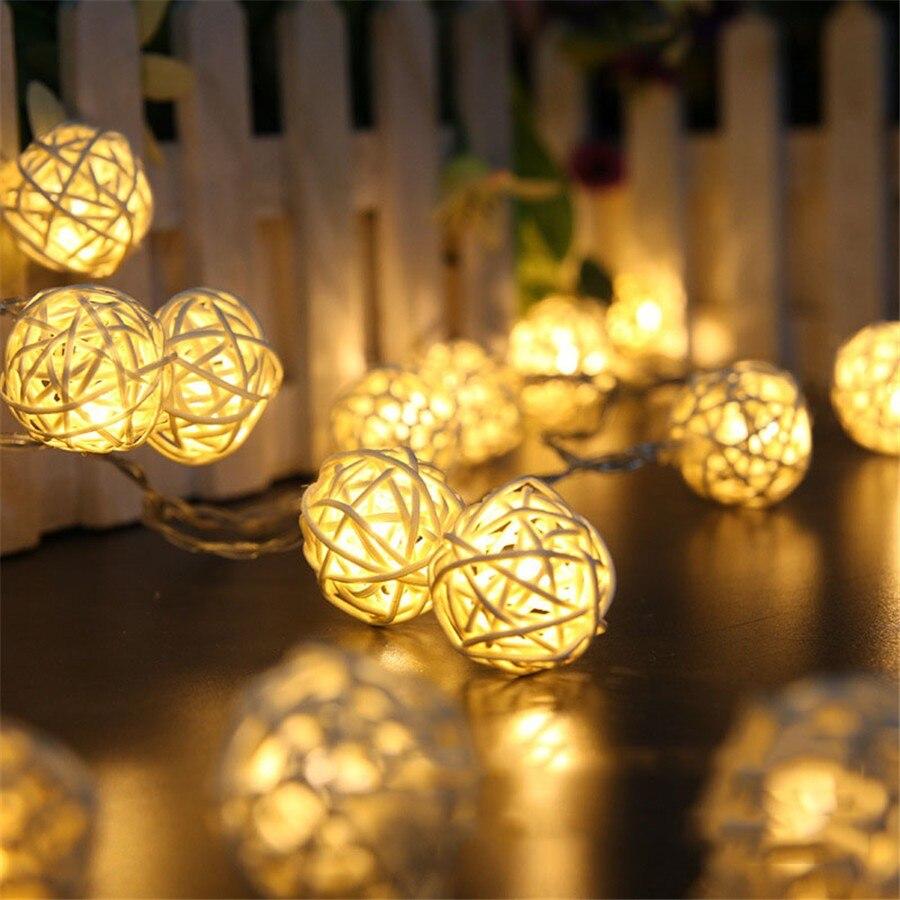 4,8 M 20 LEDs guirnalda Solar LED Bola de ratán Luces de hadas Lampion cuerda iluminación Navidad boda Luces decoración #