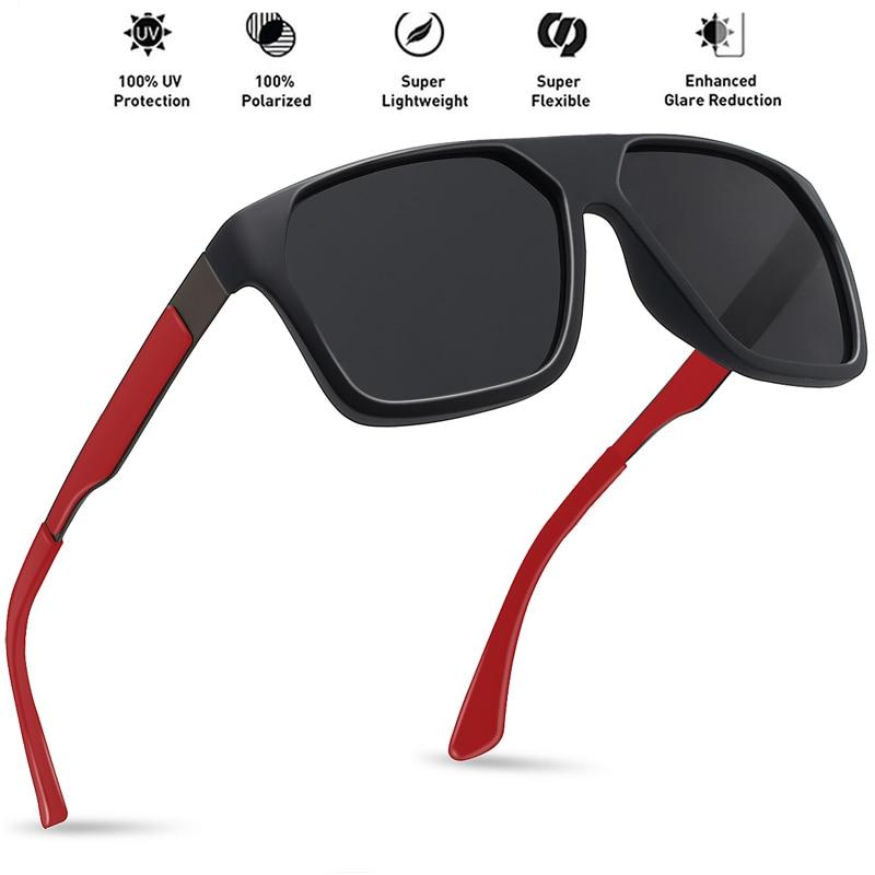 JULI Classic Polarized Sports Sunglasses Men Women Male Driving Wrap Frame Square Flat Top Sun Glasses UV400 Gafas De Sol MJ8012