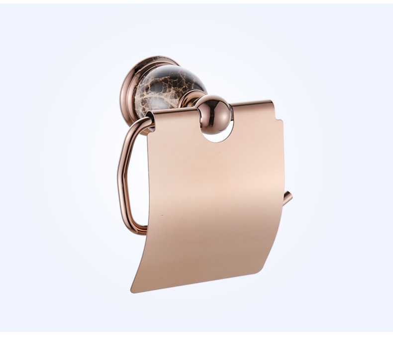 Sostenedor de papel higiénico pulido de cerámica Europea latón antiguo Rosa oro tejido rollo titular caja de pañuelos accesorios de baño bj1