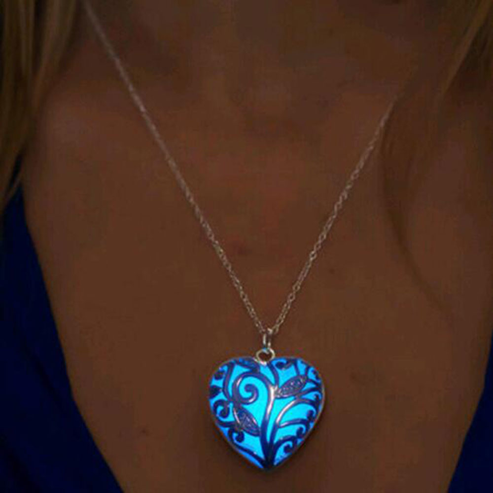 Famshin colar de pingente, colar de prata luminoso, oco, pedra brilhante, colar com pingente chocker, pingente para mulheres, presente de halloween