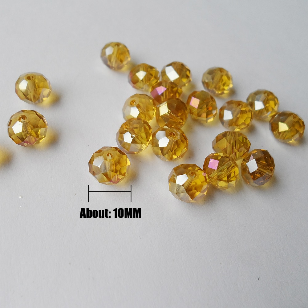 50 Beads/Lots factory wholesale 10MM Gold champagne crystal beads Plated AB color