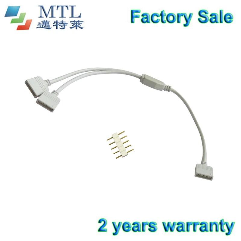 Cable divisor de 5 pines RGBW, 1 vía a conector de pines de 2 vías, 50 unids/lote, para tira de LED RGBW, PCB de 10mm, venta al por mayor de fábrica
