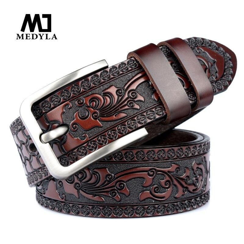 Medyla cintos para homens de alta qualidade vaca couro genuíno cinto de gravação moda masculina clássico vintage pino fivela cinta para