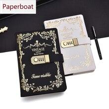Paperboat rétro A5 cahier de couverture en cuir dunité centrale avec des blocs décriture de serrure verrouillable Code de mot de passe journal scolaire cadeau détudiant