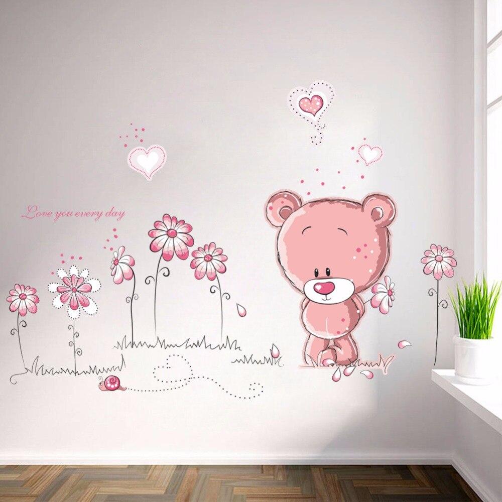 % Мультфильм милый розовый ланимальный медведь цветок для маленьких детей, декор для спальни, наклейки на стену, детская наклейка, стикер для девочки, подарок