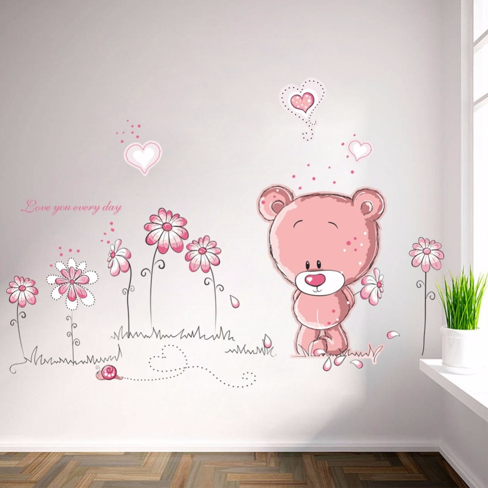 % Cartoon nette rosa lanimal bär blume baby kinder kinder schlafzimmer zimmer dekor wand aufkleber kinder kindergarten aufkleber aufkleber mädchen geschenk