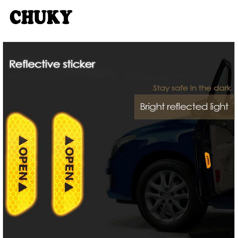 CHUKY 4 unids/set de advertencia de seguridad marca de cinta reflectante de puerta de coche pegatinas señal de abierto para BMW E90 F30 F10 Audi A3 a6 C5 Opel Insignia