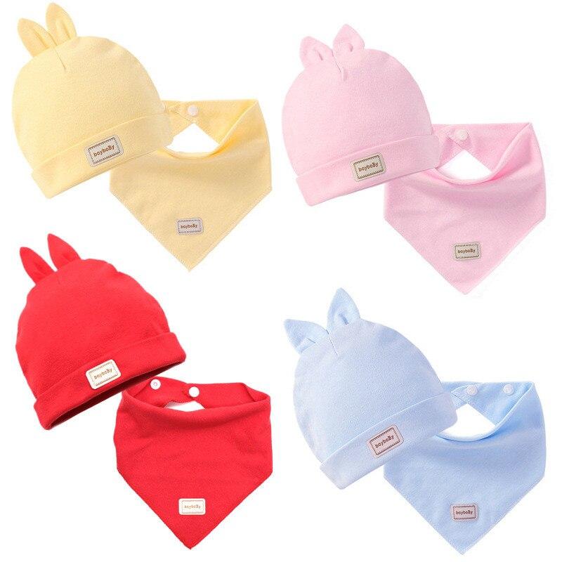 3 цвета, Eslatic платок для головы, двухслойные хлопковые детские колпачки и шапки с нагрудниками для малышей, комплект розового, желтого и небесно-голубого цвета для новорожденных