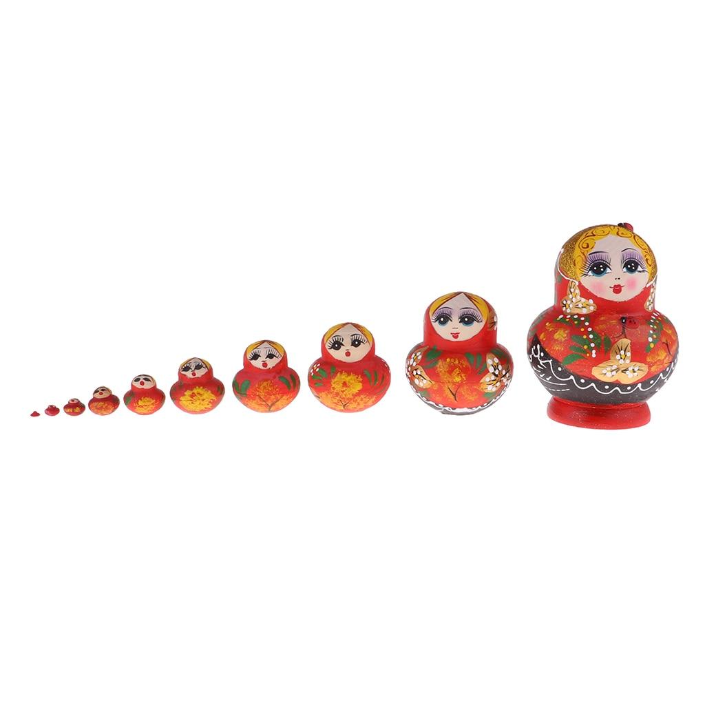 10 Pieces Kit Hand Printed Red Woman Russian Matryoshka Babushka Stacking Dolls Birthday Gift Toy Decoration