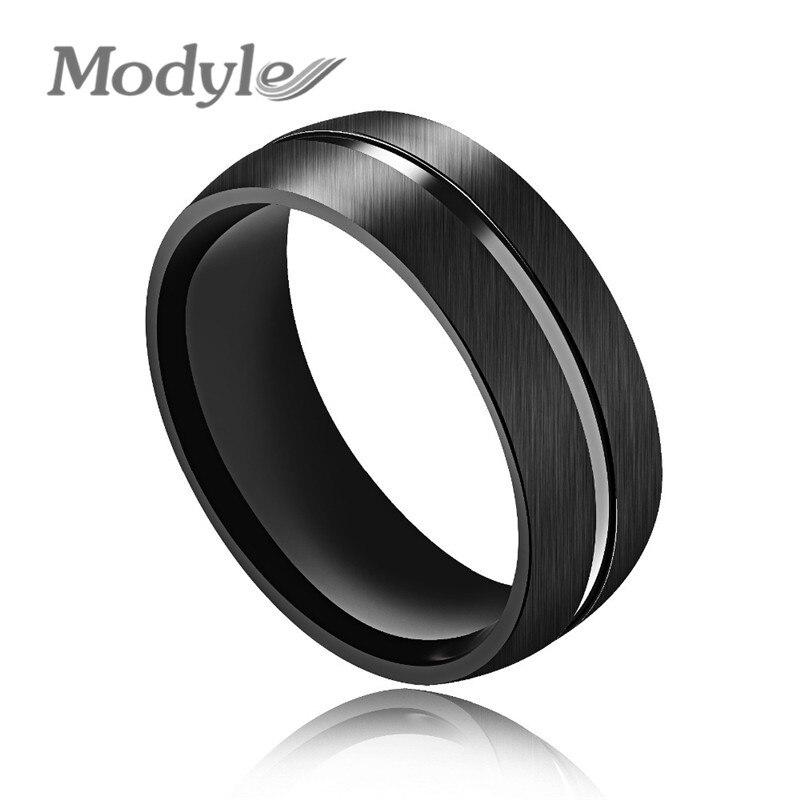 Modyle 2019 nova moda punk rock preto anel de aço inoxidável legal dos homens anel de casamento jóias