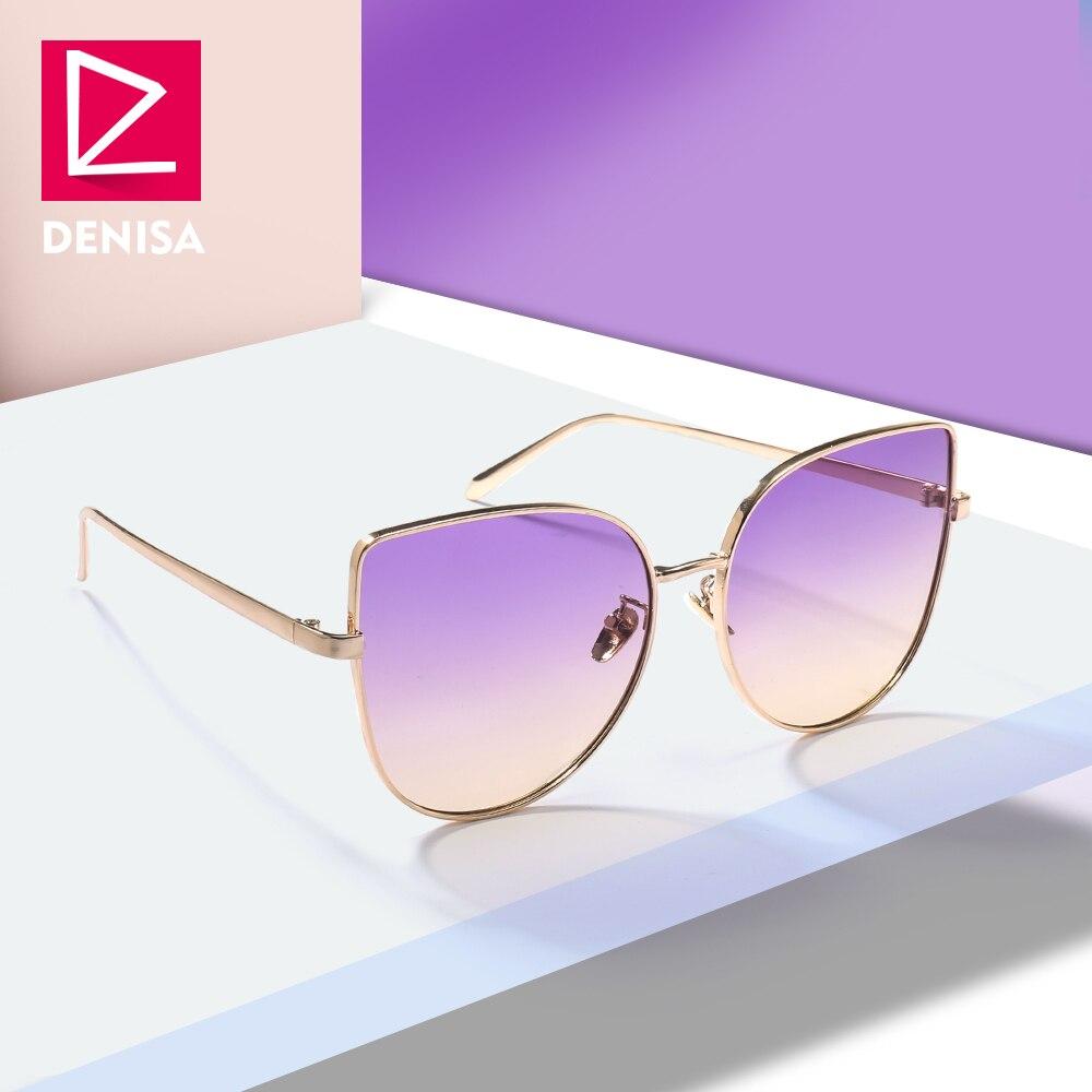 Женские солнцезащитные очки DENISA, розовые, желтые, градиентные, с кошачьими глазами, UV400
