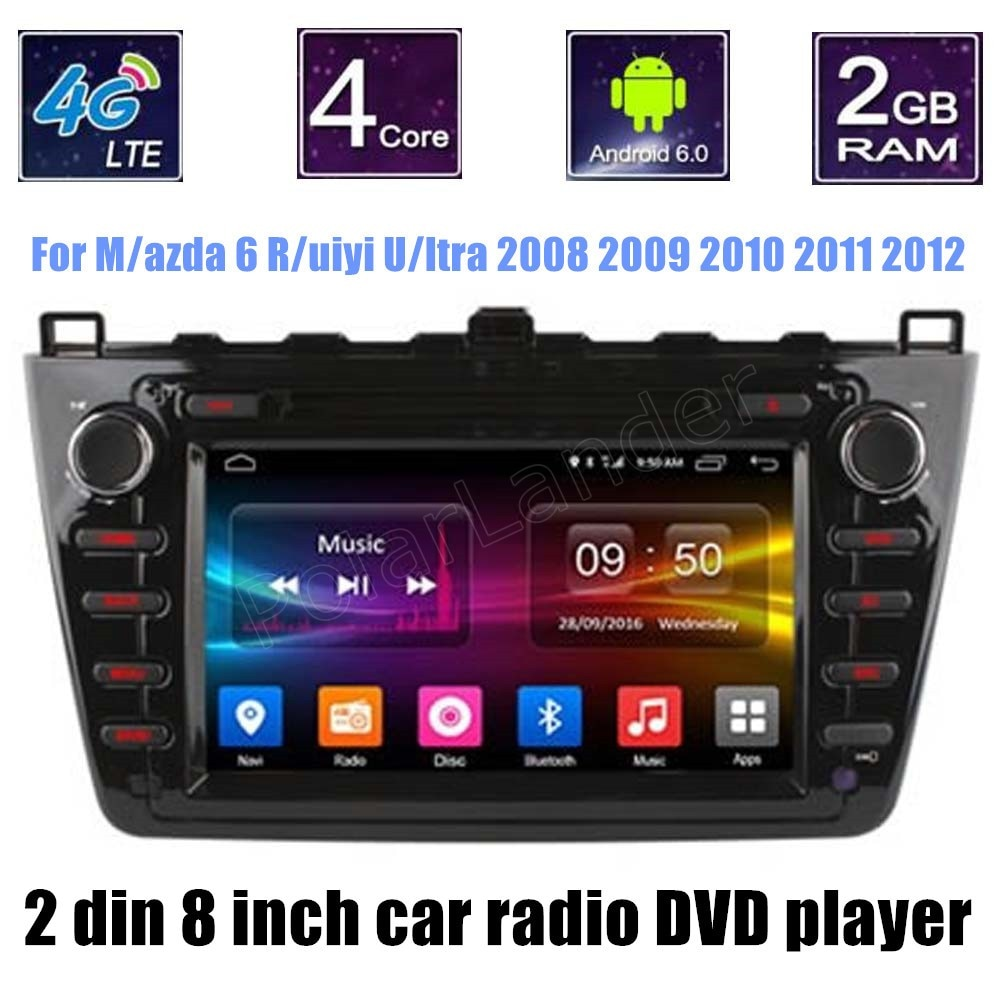 Quad Core For Mazda 6 Ruiyi Ultra 2008 2009 2010 2011 2012 Car DVD Player Navigation GPS TV 4G Radio stereo 2 din