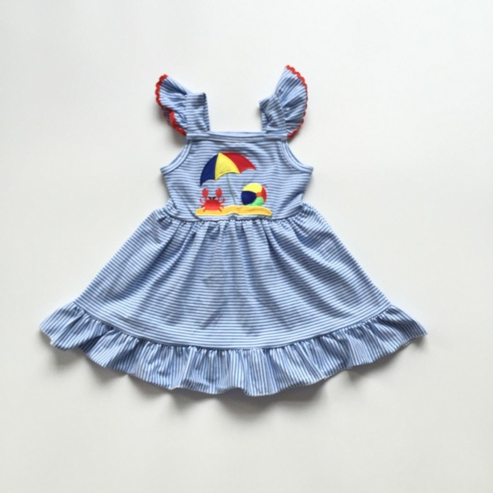 Летнее платье для маленьких девочек, платье с рисунком краба для девочек, платье в синюю полоску для девочек, Пляжное платье для кемпера