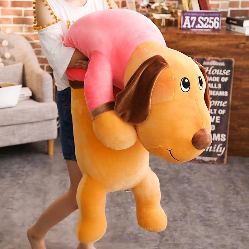 130cmcm Super gran juguete de peluche de perro animal relleno suave de dibujos animados dormidico almohada larga niños adorables regalos de cumpleaños perro