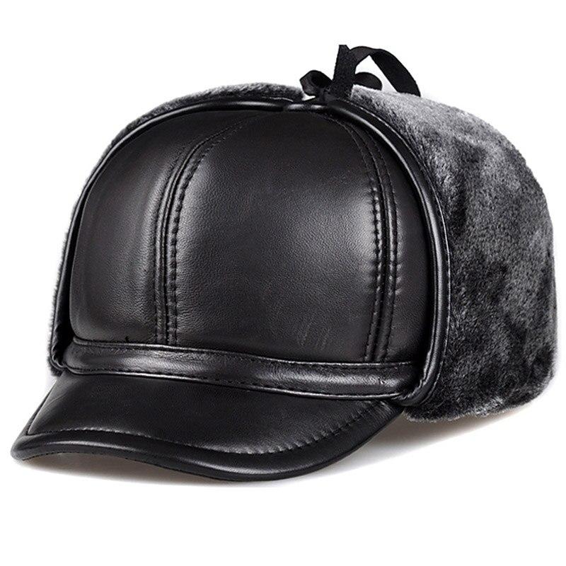 Svadilfari الأكثر مبيعاً 2018 الرجال سميكة جلد طبيعي بومبر قبعة الشتاء إيرفلاب القبعات الروسية Ushanka الصياد يندبروف امرأة دافئة