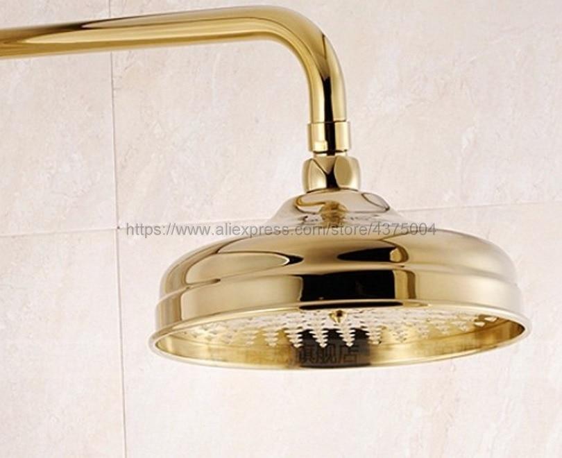8 بوصة الذهب اللون جولة دش رئيس النحاس المياه الأمطار مع دش الحمام أعلى رذاذ Nsh050