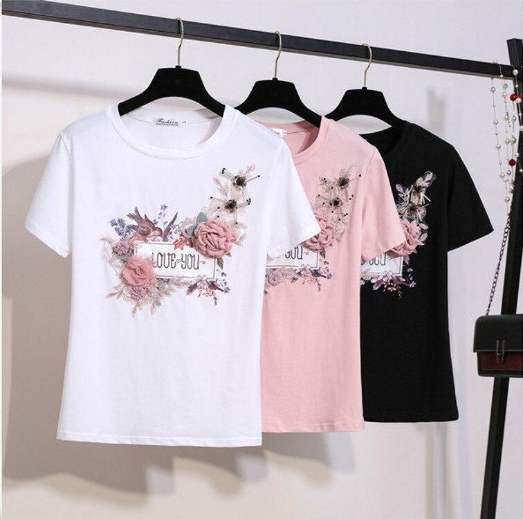 Nueva moda 2019 verano manga corta bordado apliques con cuentas 3D flores elegantes Tops y Camisetas Mujer