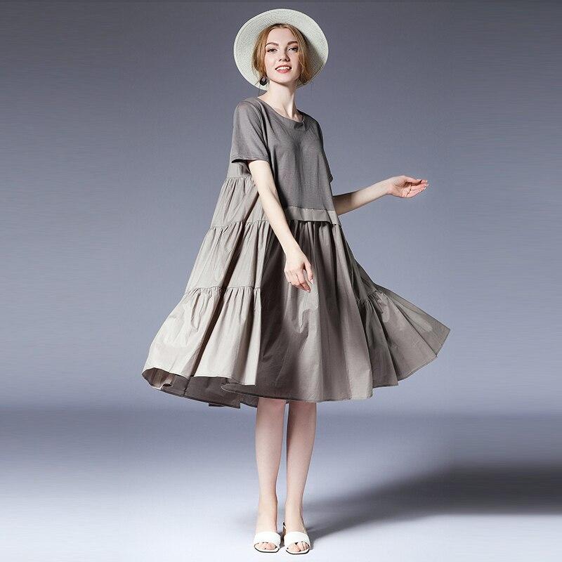 المرأة زائد حجم فساتين عارضة فضفاض Gauffer أنيقة اللباس كبيرة الحجم السيدات طاقم الرقبة عالية الخصر أزياء قصيرة الأكمام فساتين