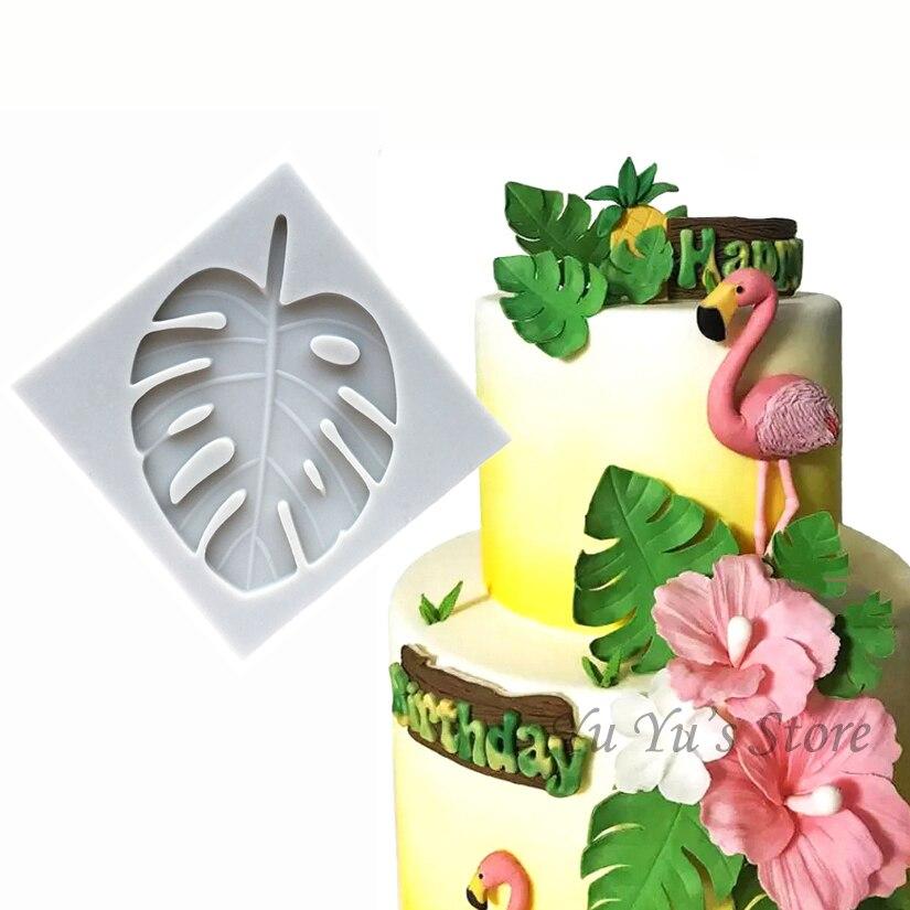 3d silicone monstera deliciosa deixa formas fondant bolo de chocolate doces jello silicone decoração ferramentas molde