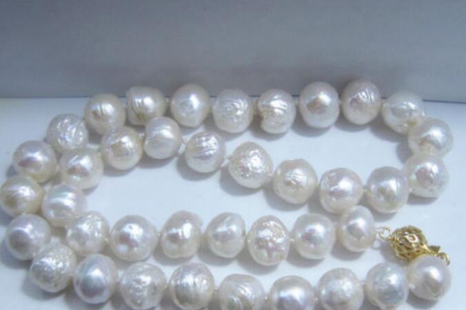 Envío Gratis> 42cm collar de perlas blancas AAA 9 ~ 10 MM de agua dulce NATURAL Mar del Sur collar de perlas blancas 925 Plata
