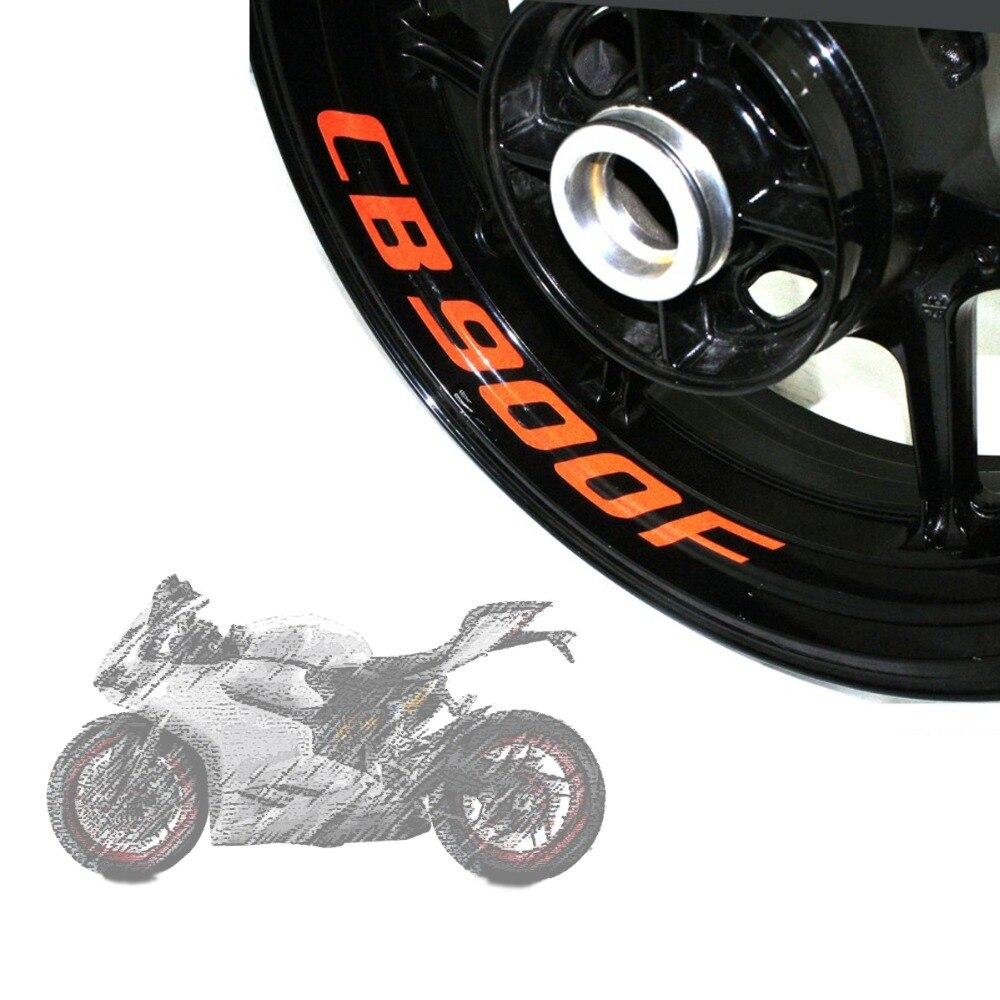 Un conjunto de 8 piezas de alta calidad calcomanías de rueda de motocicleta pegatinas reflectantes impermeables rayas de borde para HONDA CB900F CB900 F CB 900F