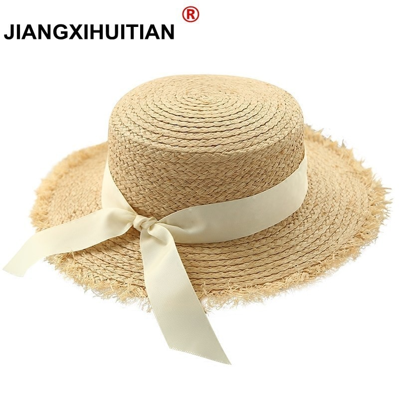 New simple Women Summer Beach Raffia Black White Ribbon Hat Bow Raffia Hat Temperament Flat Straw Hats Women's Sea Beach Hat